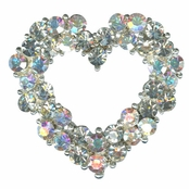 Crystal AB Cluster Heart Pin