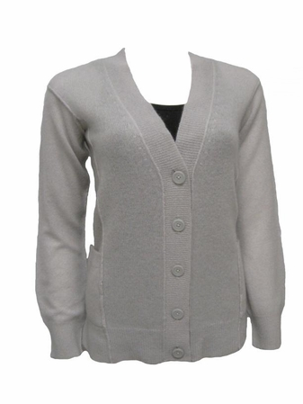 100% Cashmere Light Dove Grey V-Neck Cardigan by Only Mine