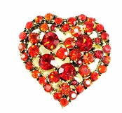 Ruby Multi Crystal Filled Heart Pin