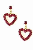 Ruby Crystal Open Heart Drop Earrings