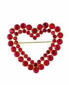 Ruby Crystal Open Heart Brooch
