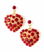 Ruby Crystal Filled Heart Drop Earrings