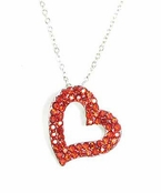 Ruby Crystal Open Heart Necklace