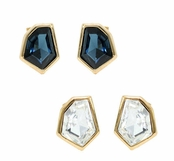 Janna Conner Gold Plate Christa Swarovski Crystal Stud Earrings