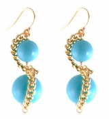 Gold Plate Laszly Turquoise Drop Earrings by Janna Conner