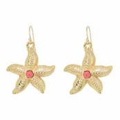 Gold Plate Starfish Drop Earrings