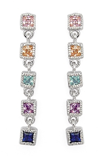 Multi-Color Princess Cut Line Earrings