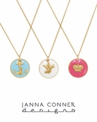Gold Enamel Coin Charm Necklace by Janna Conner
