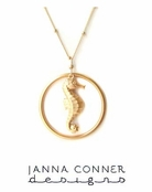 Golden Seahorse Circle Necklace by Janna Conner