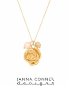 Gold Rose & Pearl Necklace by Janna Conner