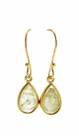Dogeared Green Quartz Teardrop Healing Gem Gold Dipped Earrings