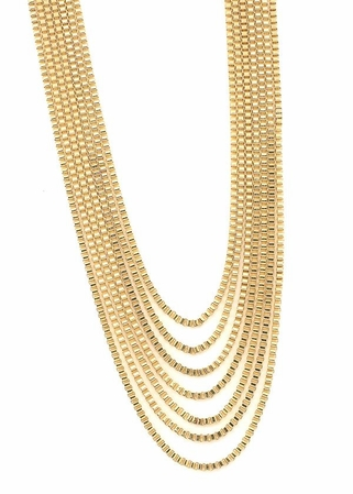 Multi Row Box Chain Necklace by Spring Street