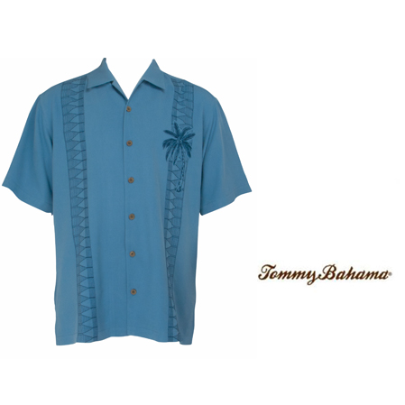 Beachside Blue Palm Escape Silk Camp Shirt by Tommy Bahama