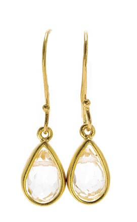 Dogeared Rock Crystal Teardrop Healing Gem Gold Dipped Earrings