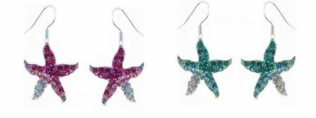 Swarovski Crystal Pave'd Dual Tone Starfish Drop Earrings