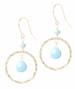 Hammered Eternity Circle Turquoise Drop Earrings