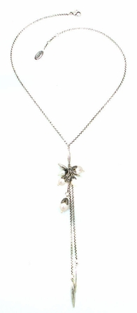 Swarovski Crystal Pearl & Silver Leaf Double Strand Drop Necklace by Kenny Ma
