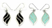 Gemstone Inlay Sterling Silver Drop Earrings