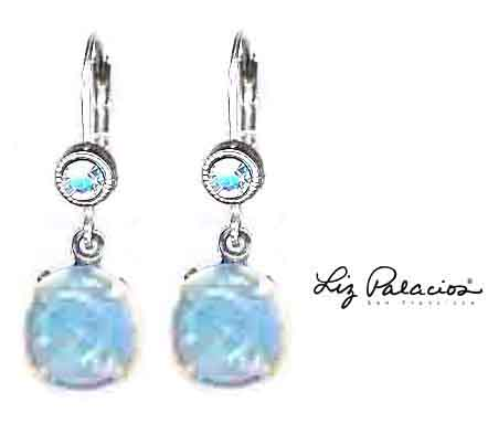 Swarovski Crystal Silver Pacific Opal Drop Leverback Earrings by Liz Palacios