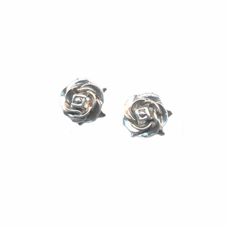 Giles &  Brother Sterling Silver Tiny Rose Earrings