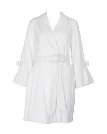 Betsey Johnson White Loop Terry Robe
