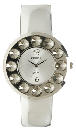 Glossy Silver Crystal Round Face Watch by PEDRE New York