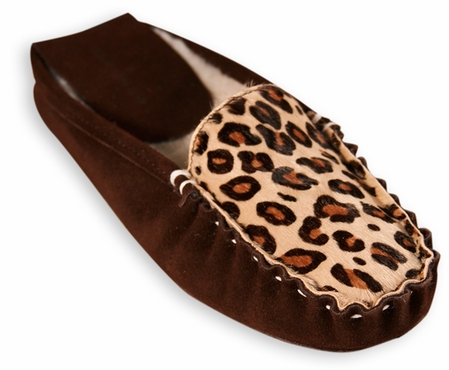 Cheetah Wool Lined Slide Slippers by Patricia Green