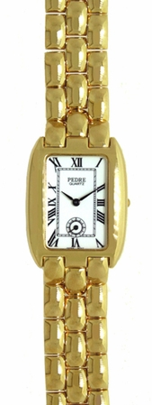 Gold Pebble Link Rectangle Face Subdial Watch by PEDRE New York