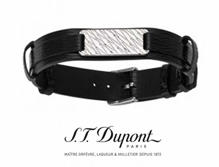 Black Diamond Leather Men's Bracelet by S.T. Dupont