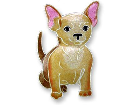 Chihuahua Sterling Silver Enameled Pin