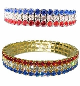 Crystal Rhinestone 3-Row Patriotic Stretch Bracelet