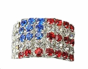 Crystal Rhinestone Flag Stretch Ring