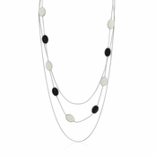 Black and White Enamel Ovals Triple Strand Necklace