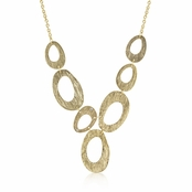 Golden Textured Organic Links Necklace