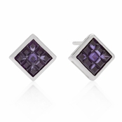 Amethyst Invisible Set Square Cut Sterling Silver Earrings