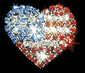 Crystal Rhinestone Patriotic Heart Pin