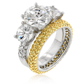 Classic 3-Stone & Pave'd Canary Band Sterling Silver Ring Set