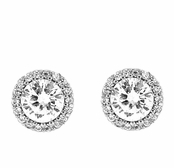 Framed Solitaire CZ Sterling Silver Earrings