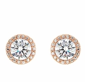 Framed Solitaire CZ Rose Gold Vermeil Sterling Silver Earrings