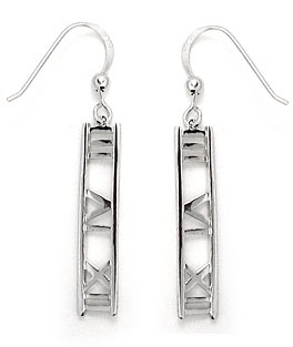 Roman Numeral Bar Drop Sterling Silver Earrings