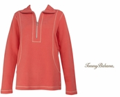 Burnt Coral Aruba Half Zip Sweatshirt by Tommy Bahama