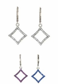 Baked Beads Crystal Open Diamond Drop Earrings