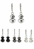 Baked Beads Stacked Faceted Bead Leverback Earrings