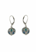 Baked Beads Turquoise Multi Enameled Ball Drop Earrings