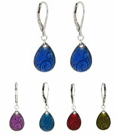 Baked Beads Enameled Teardrop Swirl Drop Earrings