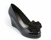 Black Patent Kristen Wedge by Lindsay Phillips