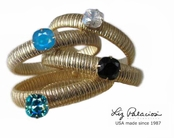 Colores Swarovski Crystal Solitaire Cushion Stretch Bangle Bracelet Liz Palacios