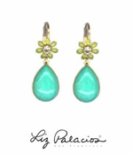 Flores Turquoise Cabochon Teardrop Earrings by Liz Palacios