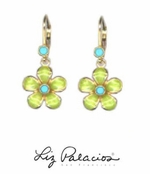 Flores Turquoise Dangling Flower Earrings by Liz Palacios