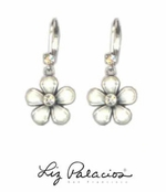 Flores White Dangling Flower Earrings by Liz Palacios